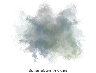 Nautral gray and green watercolor stain with watercolor paint wash and brush stroke.