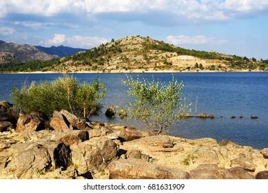 Navacerrada reservoir in summer, in the Community of Madrid. Spain