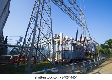 NAVAGAM, GUJARAT, INDIA, 7 OCTOBER 2013 : High Voltage transformers and high voltage electric converters equipment in Hydroelectric power plant at Sardar Sarovar Dam on the Narmada river, Gujarat,