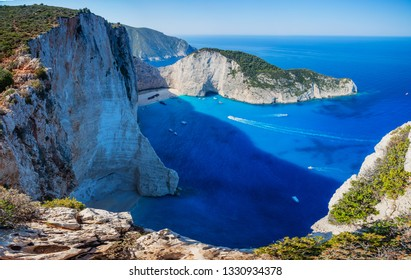 Navagio bay and Ship Wreck beach in summer. The most famous natural landmark of Zakynthos, Greek island in the Ionian Sea. Panorama