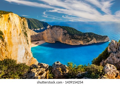 Navagio bay and Ship Wreck beach in summer. The most famous natural landmark of Zakynthos, Greek island in the Ionian Sea