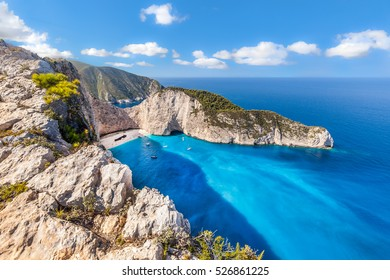 Navagio beach and famous shipwreck view, Zakynthos island, Greece.