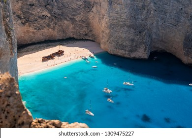 Navagio beach with the famous wrecked ship in Zante, Greece