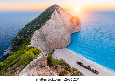 Navagio beach, Zakynthos island, Greece. Sunset view