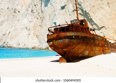 Navagio Shipwreak beach with rusty old ship of Zakinthos island, Greece, retro toned