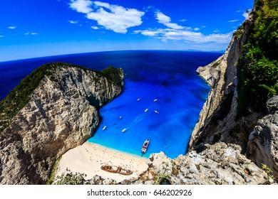 Navagio Shipwreck Beach , Zante , Zakynthos , Greece .