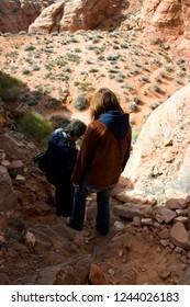 Navajo Land, Canyon X, Slot Canyon, Arizona, USA, hiking to canyon entrance, March 31, 2009