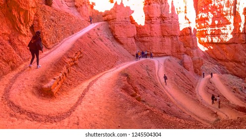 Navajo Loop Trail at Bryce Canyon National Park in Utah, USA on October 28,2018.