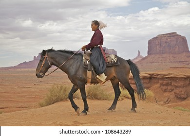 Navajo Woman on Horseback in Monument Valley Tribal Park