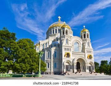 Naval cathedral of Saint Nicholas in Kronstadt near St. Petersburg, Russia