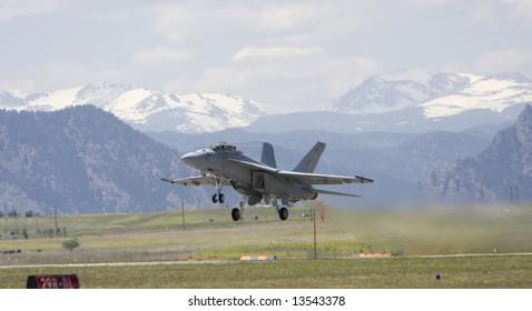 Naval F-18 Hornet lifts off