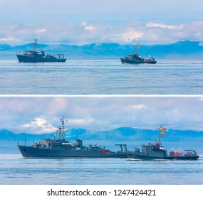 Naval minesweeper in Avacha bay on Kamchatka in Russia