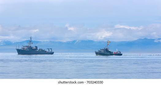 Naval minesweeper in Avacha bay on Kamchatka