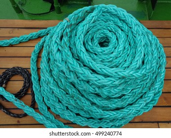 Naval rope on wooden ship deck