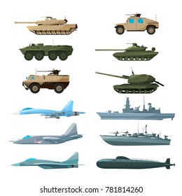 Naval vehicles, airplanes and different warships. Illustrations of artillery, battle tanks and submarine. Military battleship and car armed, plane and ship illustration