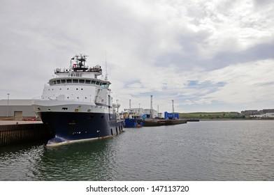 Naval vessel anchored in harbor