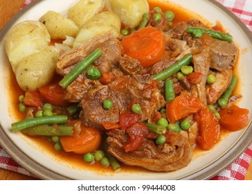Navarin of lamb, French country lamb stew, served with fork-crushed new potatoes.