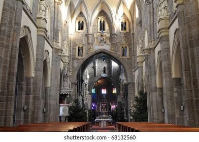 nave of gothic basilica Saint Procopius  in Trebic,UNESCO site