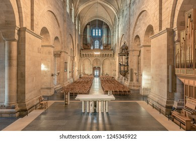 The nave in Lund cathedral, an interior HDR-photo, Lund Sweden, November 16, 2018