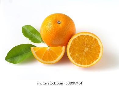 Navel orange on white background