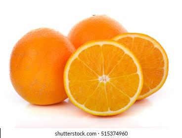 navel oranges on white background