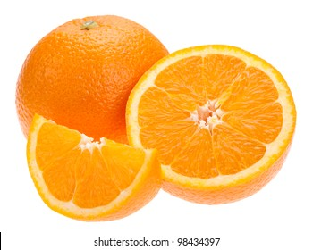 Navel seedless orange isolated on white