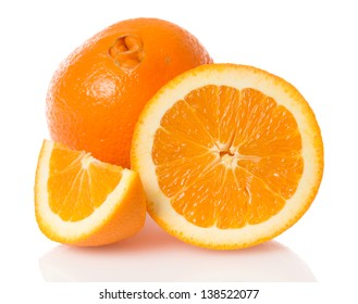 Navel seedless orange with a second fruit at the apex visible