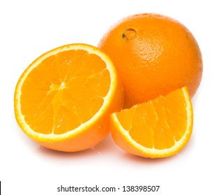 Navel seedless oranges isolated on white