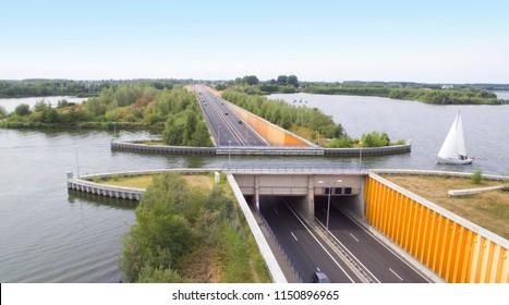 Navigable aqueduct near Harderwijk, the Netherlands