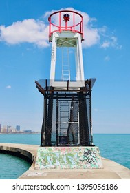 Navigation Beacon along Seawall - North Avenue Beach, Chicago