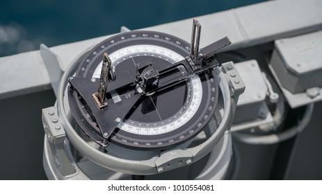 Navigation Bearing on board Navy ship , Top view and close up