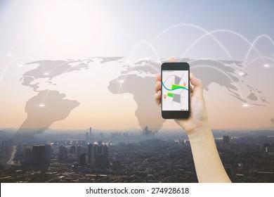 Navigation concept.map on smart phone.