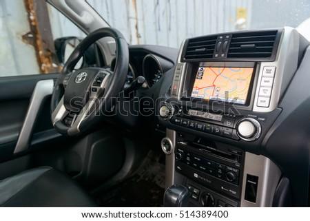 4a31fc9296b7 Navigation GPS system in Toyota Land Cruiser Prado 150. MOSCOW, RUSSIA -  NOVEMBER 12