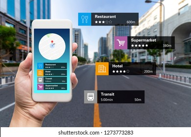 Navigation information technology about nearby businesses and services on smartphone screen guide customer or tourist in the city