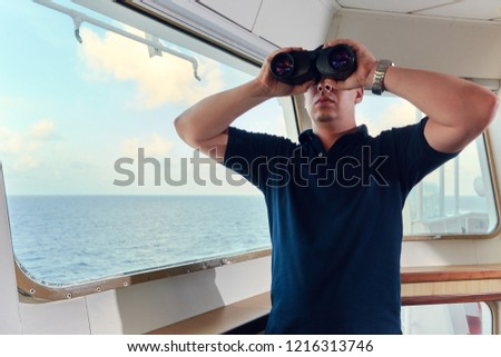 Navigation Offcier Pilot On Bridge Ship Stock Photo (Edit Now