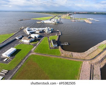 The navigation pass S1 of Saint Petersburg dam is a storm surge barrier in the eastern part of the Finnish Gulf, Russia. Aerial view