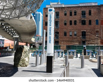 Navigation signs near Salesforce Transit Center directing passengers to transit agencies - San Francisco, California, USA - July 12, 2019