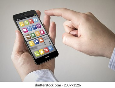 Navigation via Smart phone concept: Close up of man using Black Smartphone with a GPS map