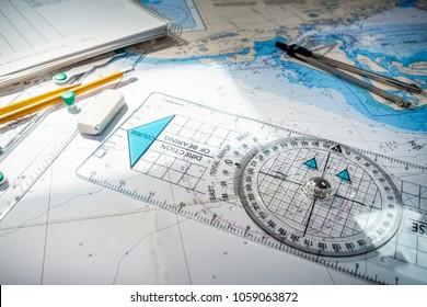 Navigational Compass with map, Toronto, Canada