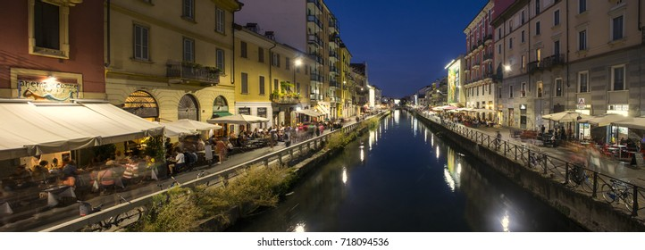 The Naviglio Grande Canal, August 27 2017, The Naviglio Grande canal at the evening in Milan, Italy