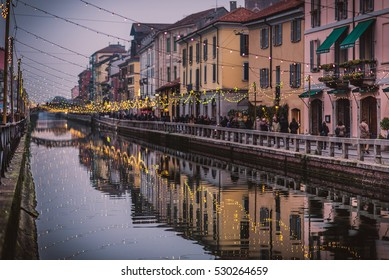 Naviglio Grande Canal during the night. Milan City, Italy