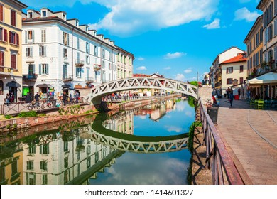 The Naviglio Grande canal in Milan city in Lombardy region of northern Italy