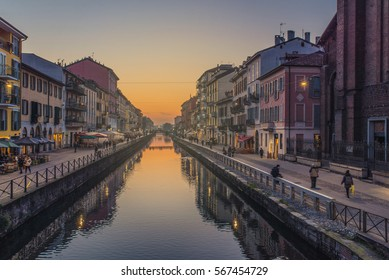 Naviglio Grande Canal. Milan City, Italy