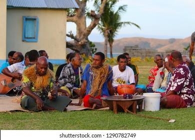 Naviti Island, Fiji - July, 2017. The Kava ceremony in a Fijian village of Naviti Island, Yasawa, Fiji