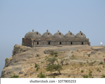 Navlakha Kothar on Pavagadh Hill, Panchmahal district, Gujarat state, India. It is a dome-shaped brick structure said to be used for storing grains for the garison.