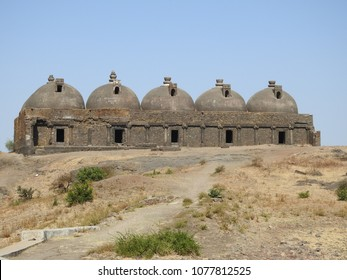 Navlakha Kothar on Pavagadh Hill, Panchmahal district, Gujarat state, India. This dome-shaped brick structure was used for storing grains for the garison.
