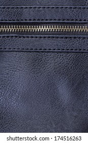navy blue artificial leather with zipper for background