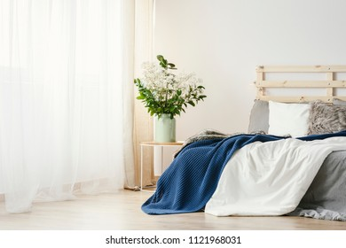 Navy blue blanket thrown on double bed with lights on bedhead standing in white bedroom interior with plants on table and window with curtains
