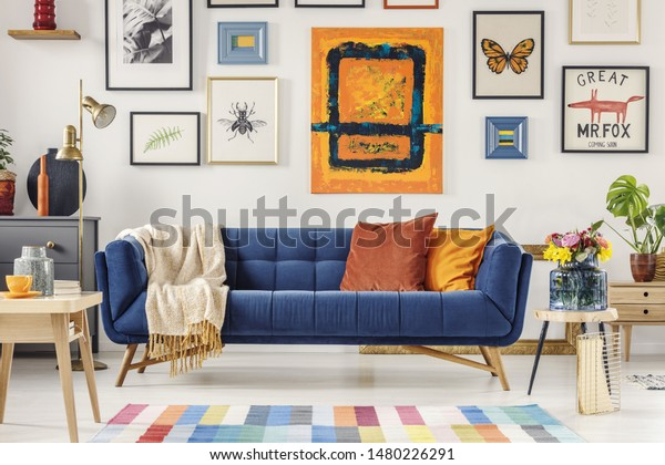 Navy Blue Couch Bright Blanket Two Stock Photo (Edit Now ...