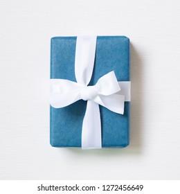 Navy blue gift box isolated on white background